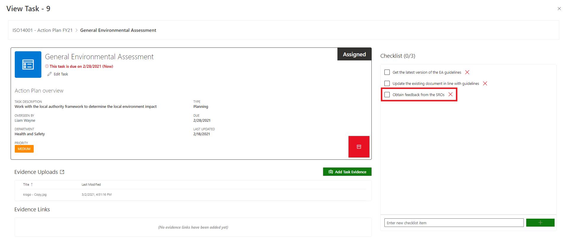 Create Checklist item 2