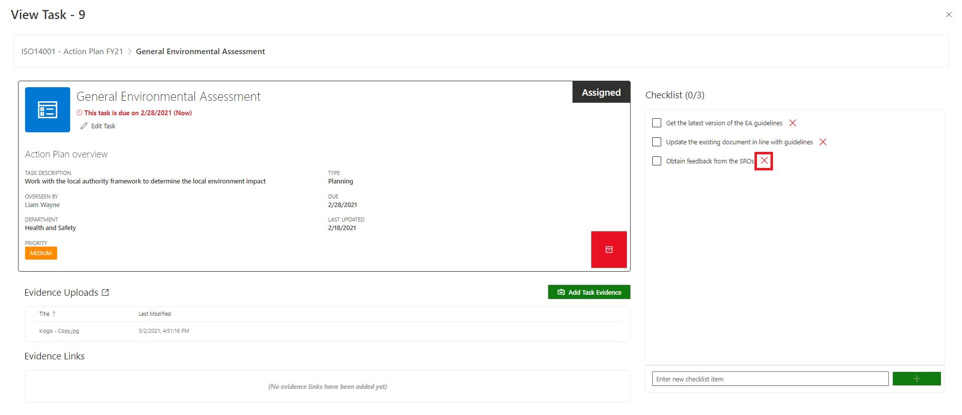 Create Checklist item 3