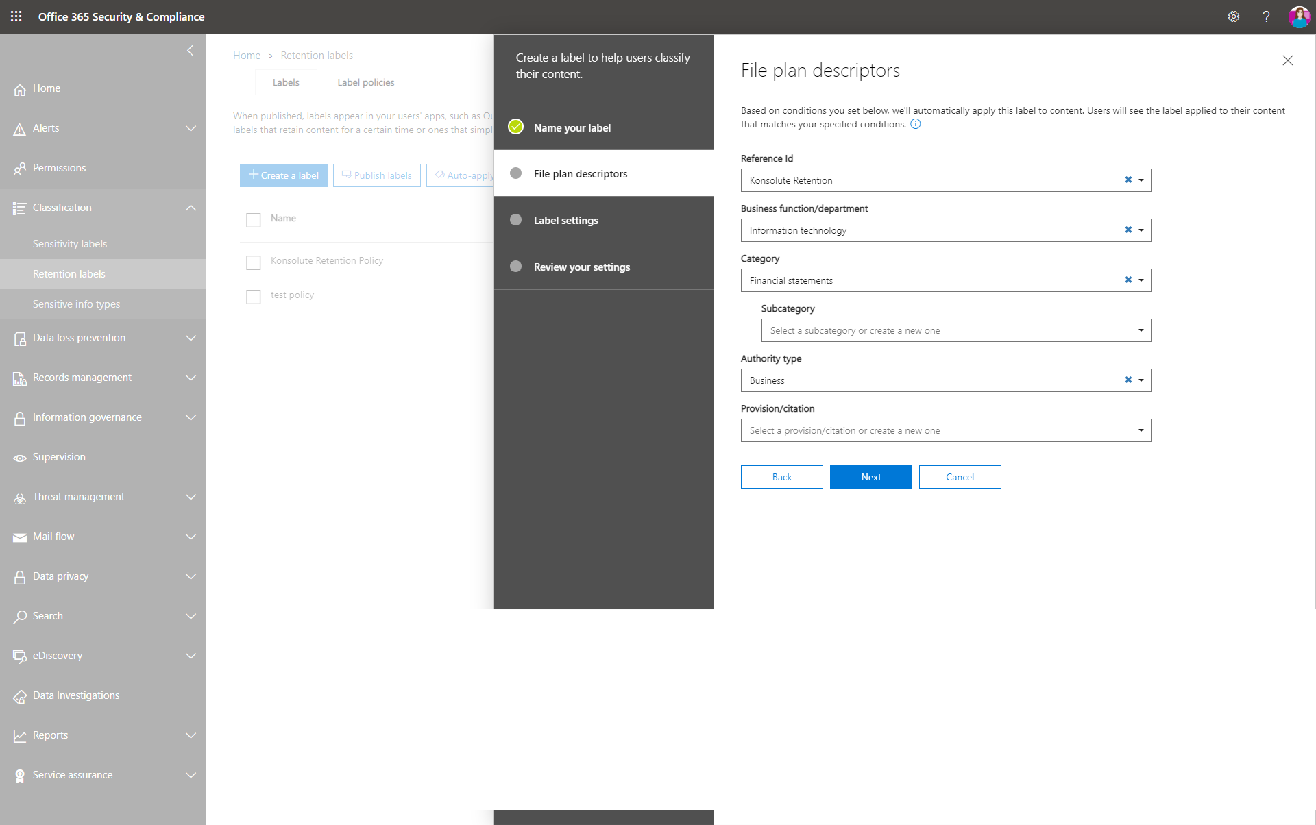 Create a retention label fileplan decriptors