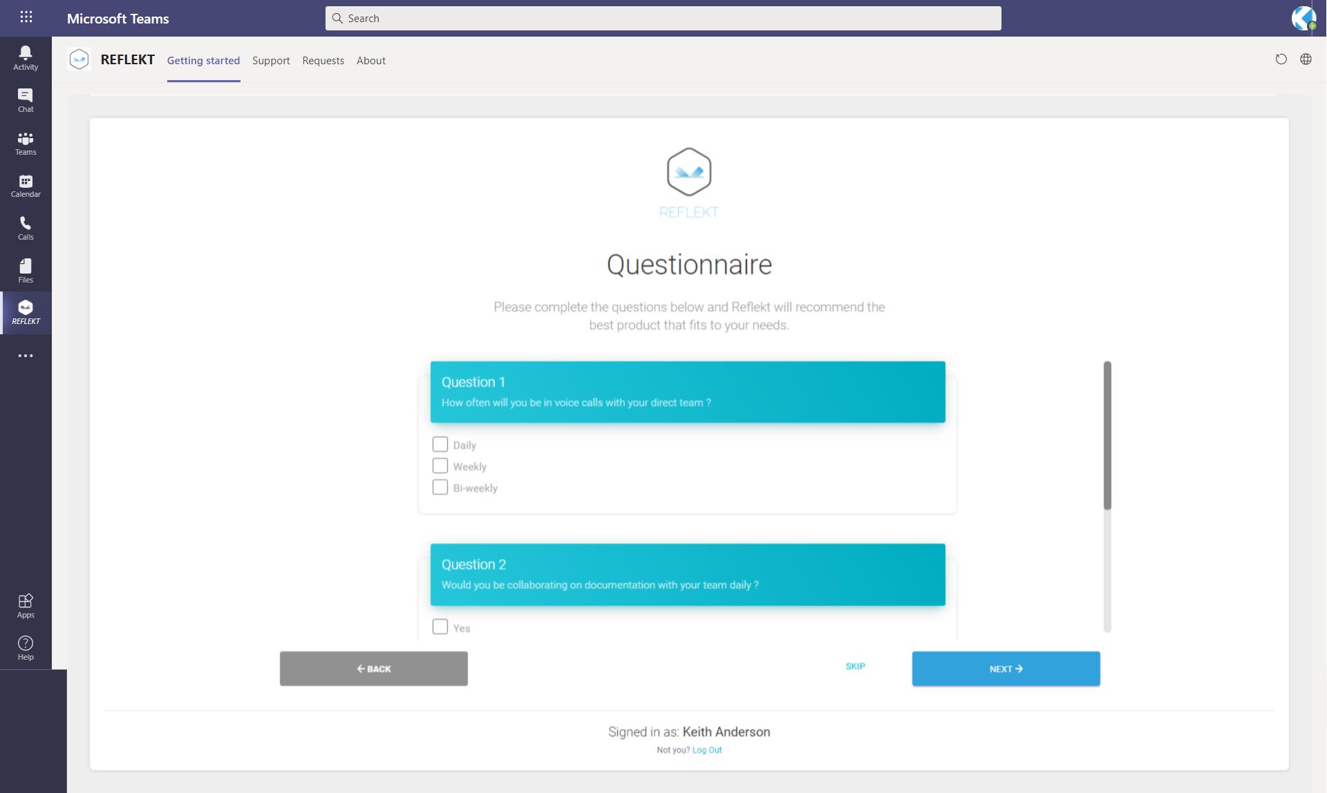 Reflekt Questionnaire